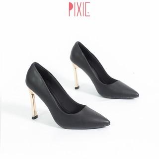 Giày Cao Gót 9cm Gót Vàng Mảnh Màu Đen Pixie X463 thumbnail