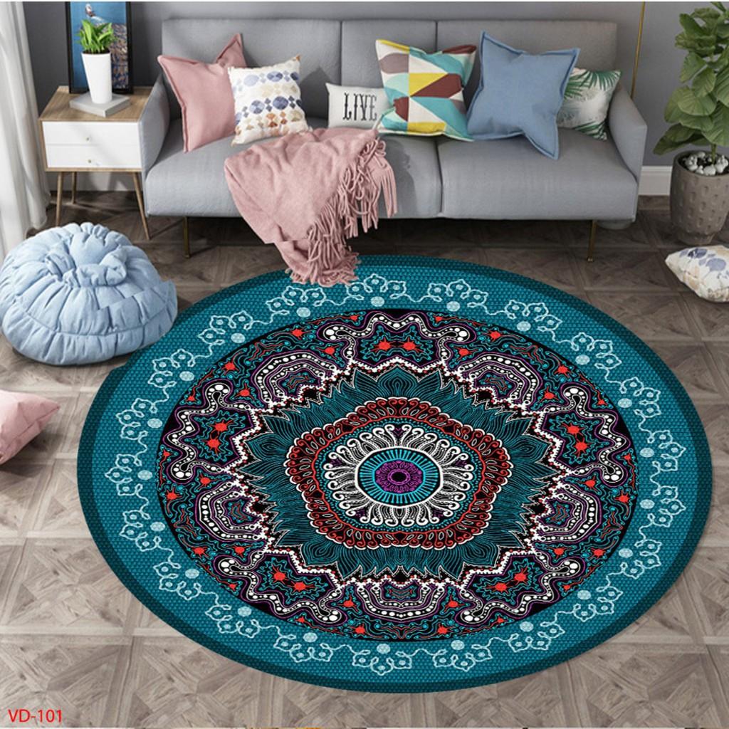 𝐓𝐡𝐚̉𝐦 Trải Sàn 𝐁𝐚𝐥𝐢 hình tròn Trải Sàn Trang Trí Cao Cấp  - Thảm Lì Bali  Hàng Đẹp ( Mặt Sau đế cao su Chống Trơn Trượt)