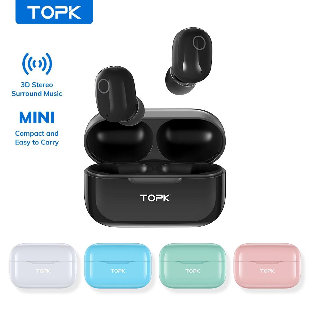 Tai Nghe Bluetooth TOPK T12 MINI Không Dây Âm Thanh Trầm Nổi Tích Hợp Mic IPhone Huawei Xiaomi