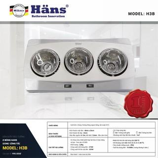 Đèn sưởi 3 bóng trắng treo tường Hans – H3B - Không đốt cháy Oxy - Bảo hành 12 tháng