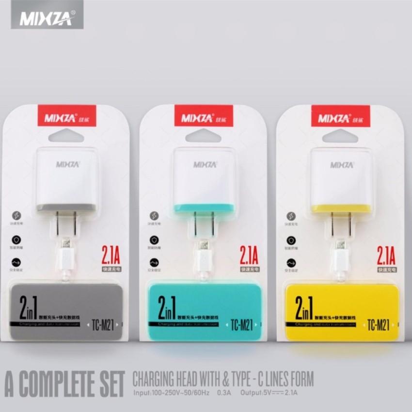 Bộ cáp và cốc sạc nhanh Mixza TC-M21 2.1A - Cổng Micro (Trắng)