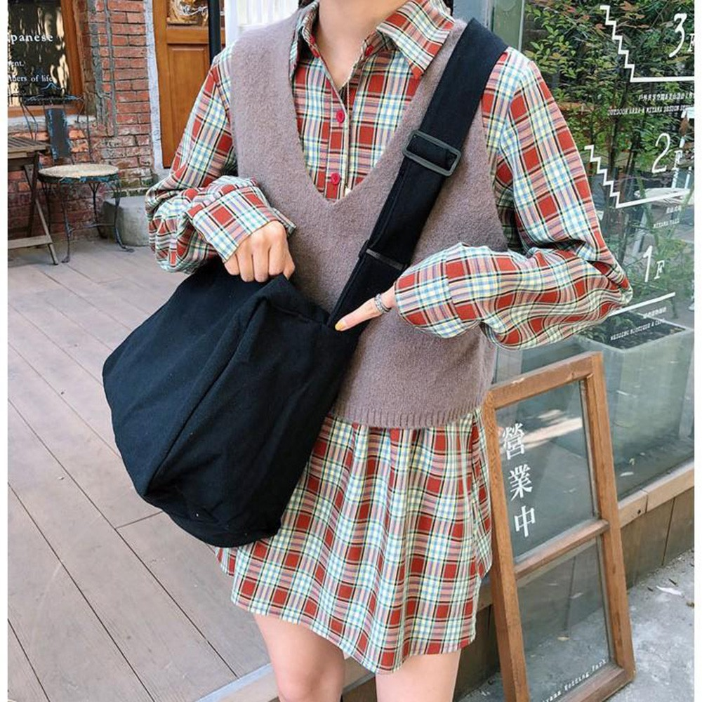 Túi tote vải Canvas đeo chéo loại lớn màu trơn cực đẹp BEE1476-6D8