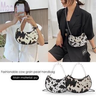 Túi đeo chéo da PU họa tiết bò sữa phối dây xích ngọc trai thời trang cho nữ