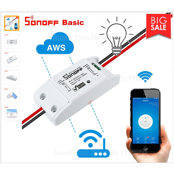 Công tắc điều khiển từ xa qua mạng wifi 3g Sonoff Basic,công tắc thông minh app eWelink