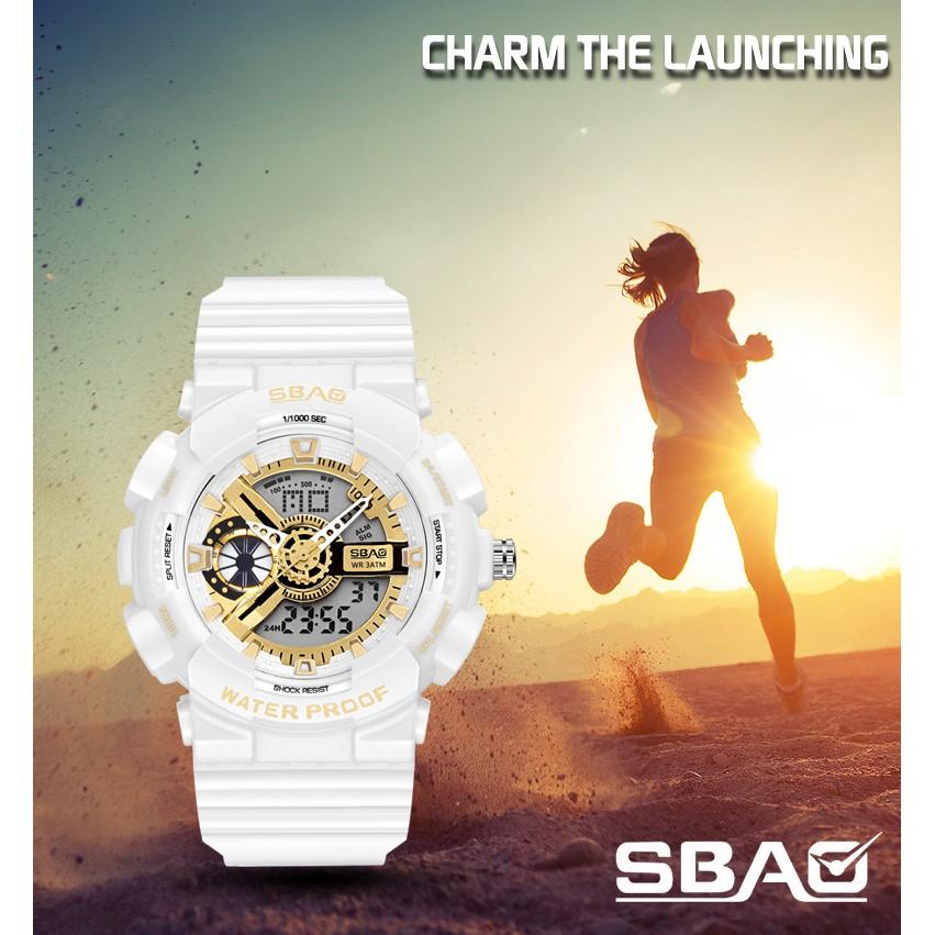 Đồng Hồ Nữ SBAO S8022B USA Sports - 2 Máy Kim và Điện Tử Mạnh Mẽ Dây Silicone Bền