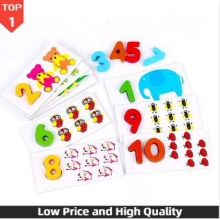 Kids Early Educational Toy Arithmetic Numbers Card Cartoon Jigsaw Wooden Puzzles Early Educational Toys for Children