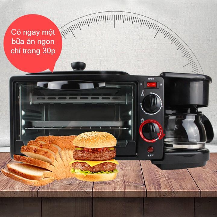 Lò nướng 3 trong 1 nướng bánh + pha cafe + ốp trứng, bữa sáng tiện dụng với máy đa năng(Luceogroup)