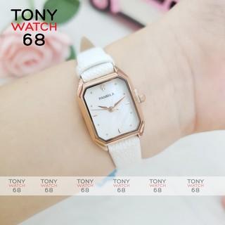 Đồng hồ nữ Panmila dây da mặt vuông mini mạ viền vàng chính hãng Tony Watch 68