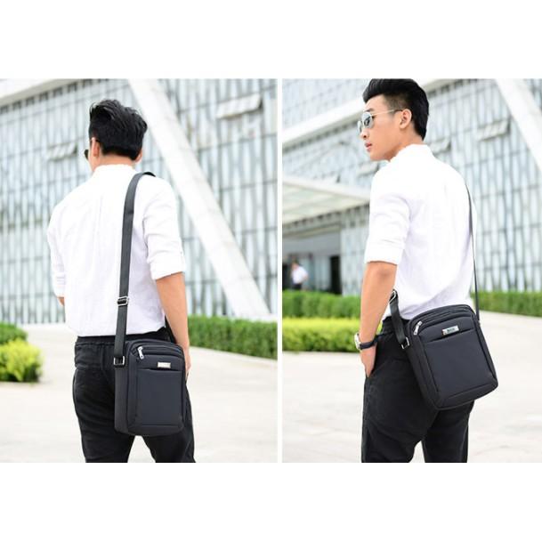 Túi vuông Nam chống nước vải dù thời trang 1 dây kéo , túi đeo chéo, túi xách