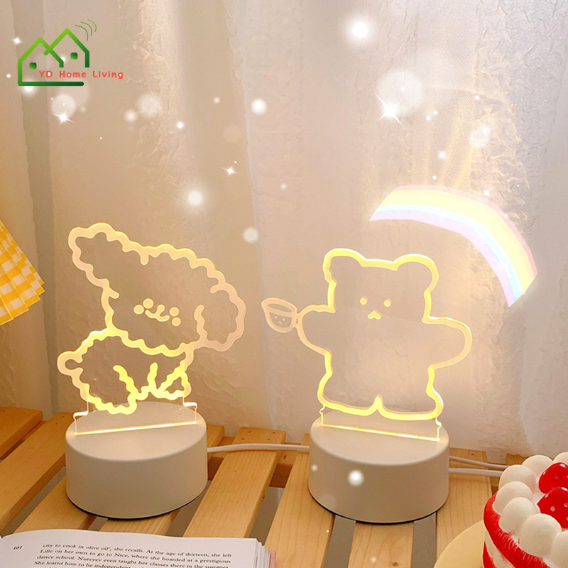 Đèn Ngủ Hoạt Hình 3D Bóng LED Huyền Ảo Chất Liệu Acrylic Thích Hợp Làm Quà Giáng Sinh