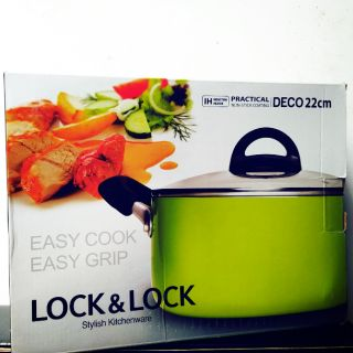 [GIÁ SỐC] NỒI NHÔM ĐÁY TỪ E-COOK DECO 22CM LOCK&LOCK LED2222G-IH (Xanh cốm)