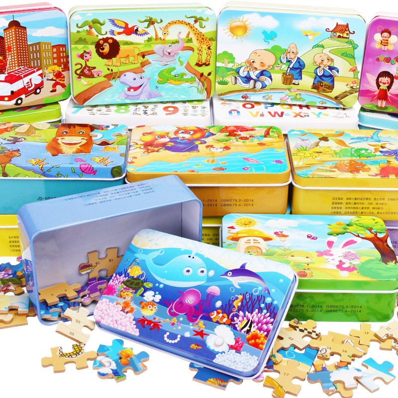 60Pcs/Box Cartoon Wooden Jigsaw Puzzle Kids Early Learning DIY Toys