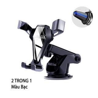 Giá đỡ điện thoại trên ô tô gương đen bạc tinh tế MCZB có đầu kẹp và đế hút chân không cao cấp sang trọng