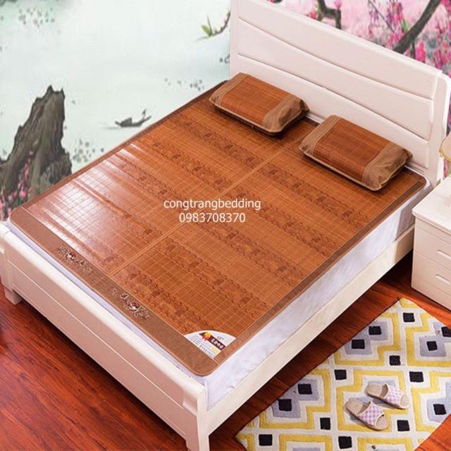Chiếu trúc tăm vân gỗ mùa hè mát lạnh (m6x2m - m8x2m)