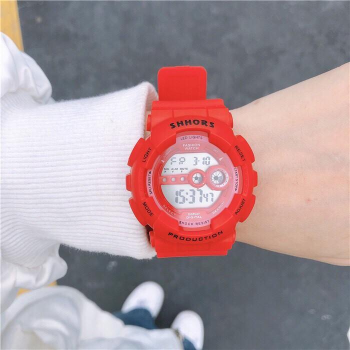 ( Màu Đỏ ) Đồng hồ điện tử thể thao Nam Nữ SHHORS SĐh557