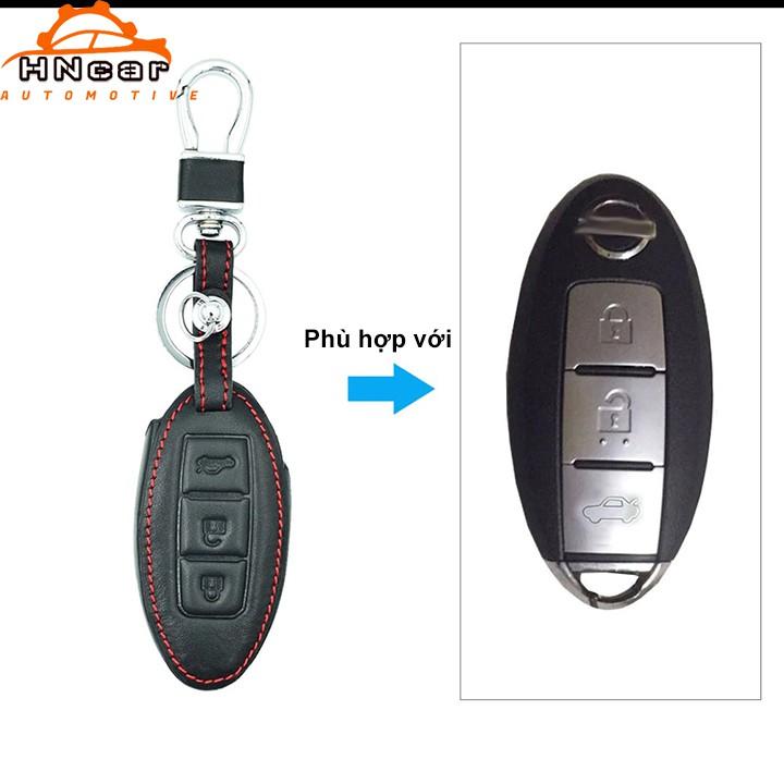 Bao da chìa khóa xe Nissan 3 nút - Kèm móc khóa thép
