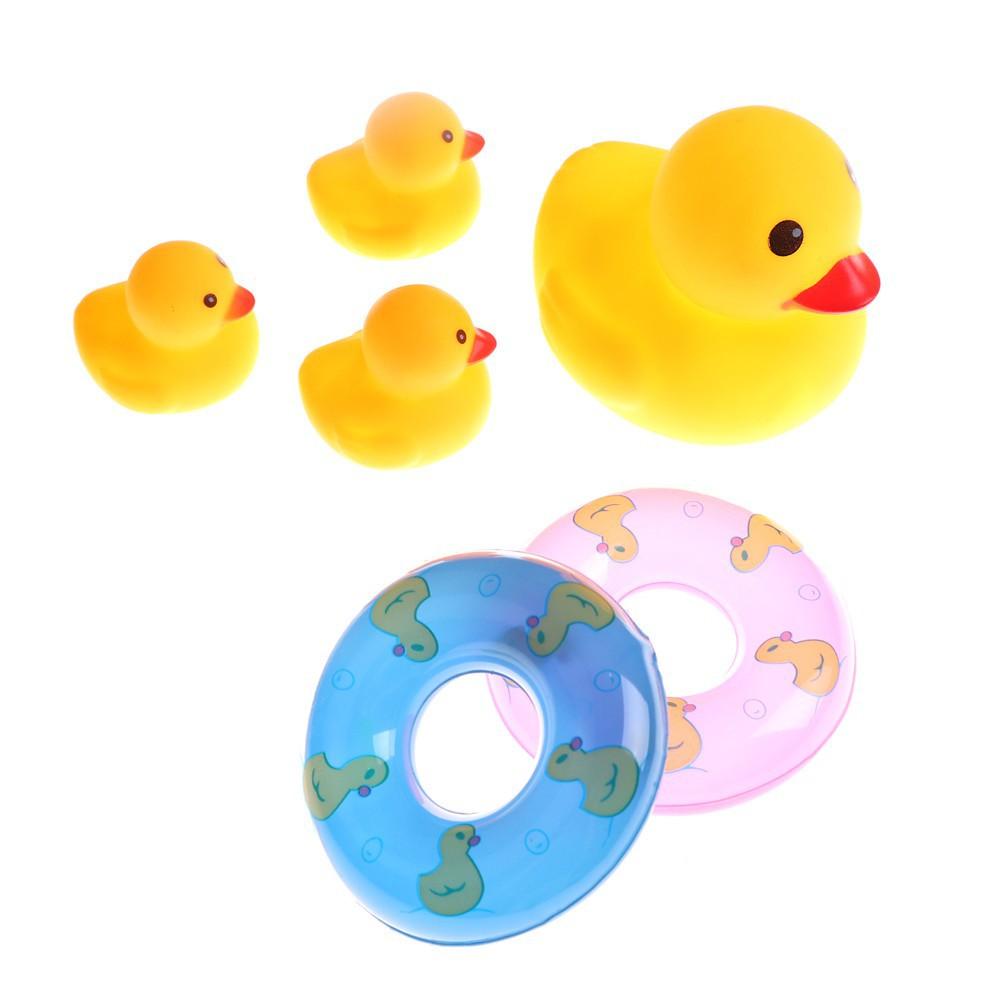 Bộ 4 vịt cao su kèm 2 phao bơi ,đồ chơi đi bơi, đi tắm cho bé
