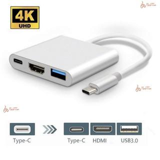 Bộ Adapter cáp chuyển Type-C sang HDMI 4k/USB/TypeC 3 trong 1 dùng trong trình chiếu cho Macbook, iPad, Smart Phone