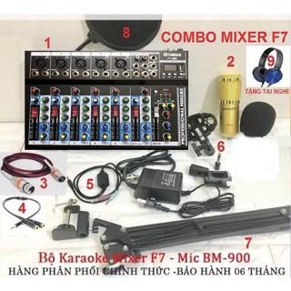 Full bộ mixer F7 cùng mic thu âm BM900 hát karaoke tặng kèm tai nghe