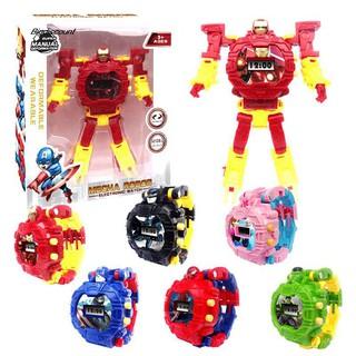 Đồng hồ đeo tay điện tử trasformable Iron Man Captain America dành cho các bé