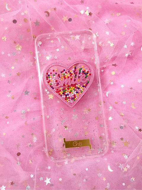 Ốp lưng iPhone hình trái tim có hạt (có ảnh thật)