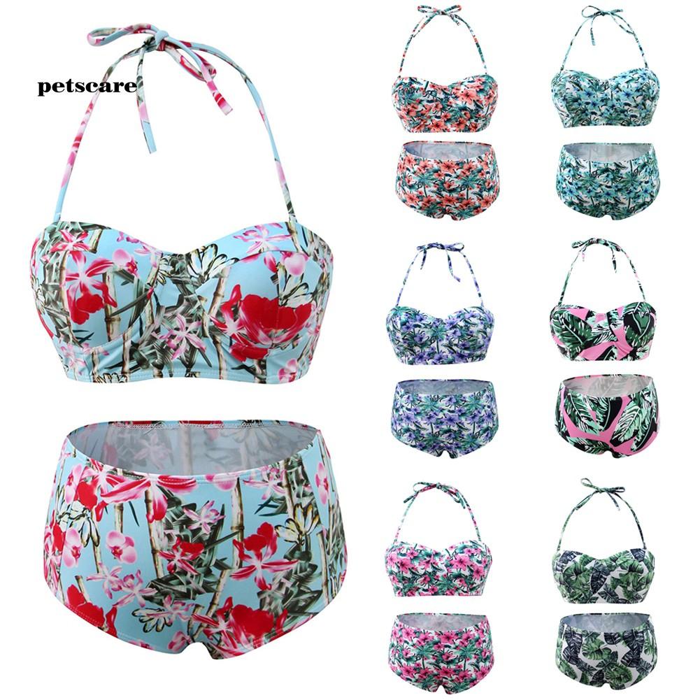 Ptcr_Floral Print Halter High WaistVintageTwo-piece Women SwimsuitBeach Swimwear