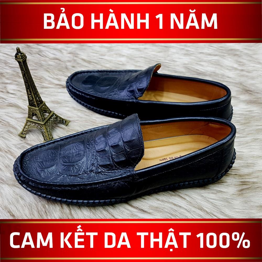 [FREESHIP] Giày Lười Nam Da Bò Giày Nam Vân Cá Sấu Da Thật - BH