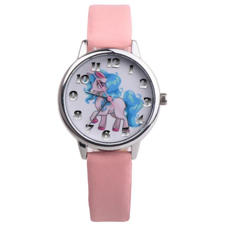 Đồng hồ cho bé gái dây da mềm siêu dễ thương ( hồng phấn )