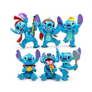 #ReadyStock# 6Pcs/set Stitch Lilo & Stitch Guitar Doll Gift For Kid Toys