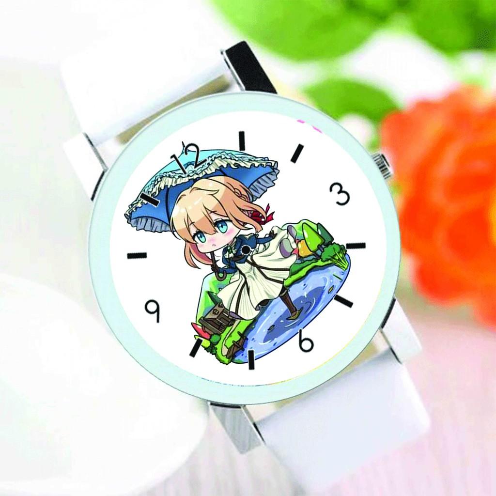 Đồng hồ đeo tay nam nữ in hình VIOLET EVERGARDEN anime chibi thời trang dễ thương