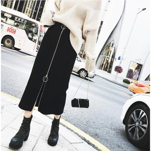 (hàng Có Sẵn) Chân Váy Maxi Lưng Cao Co Dãn Cho Nữ