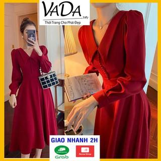 Đầm dự tiệc dáng xòe màu đỏ tay dài cổ nhọn mới lạ phối nút bọc cao cấp đi đám cưới, noel, tết siêu xinh - VADA - V555 thumbnail