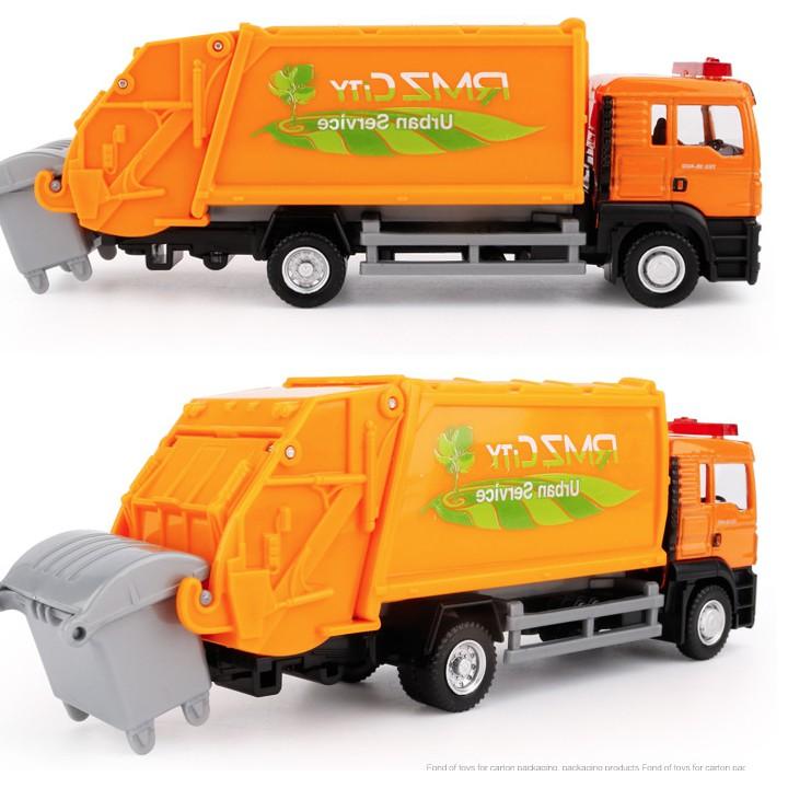 Xe ô tô chở rác mini đầu MAN bằng sắt tỉ lệ 1:64 chạy cót màu cam