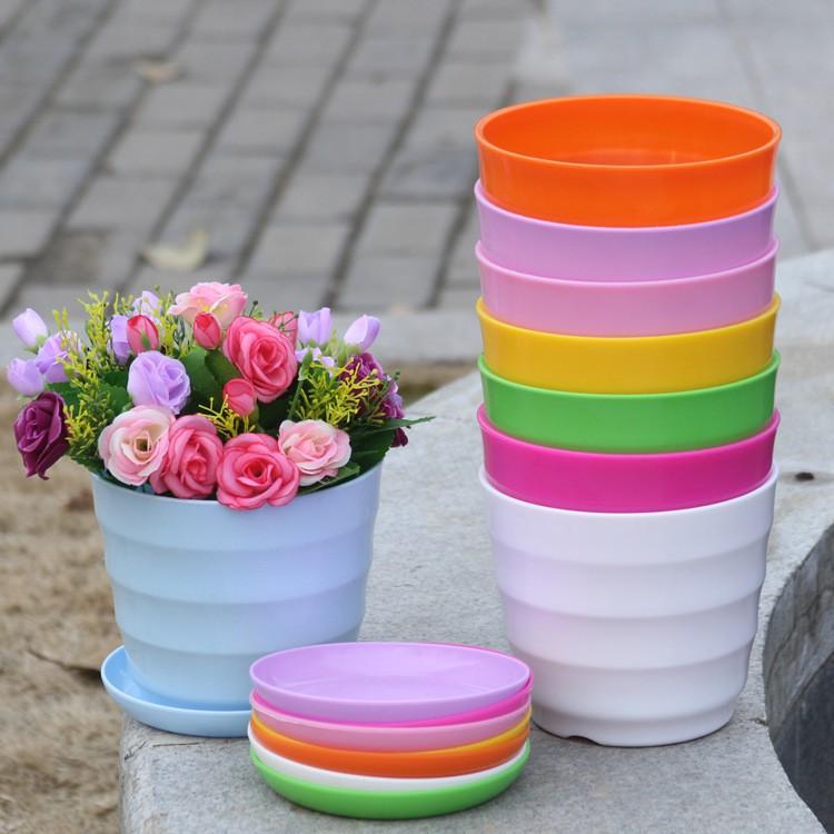 Chậu Cây Cảnh Mini Nhựa Nhiều Màu Sắc Dùng Trang Trí Văn Phòng / Phòng Khách /Phòng Ngủ / Tết