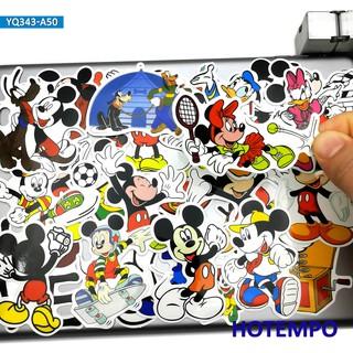 Set 50 Miếng Dán Trang Trí Điện Thoại Hình Chuột Mickey Minnie Đáng Yêu