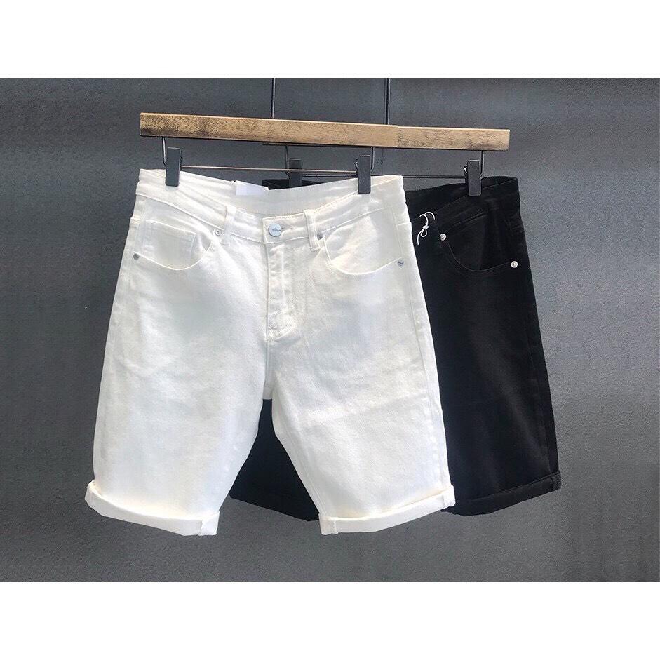 Quần body nam Quần short jean nam có giãn short jean đen trắng trơn rách