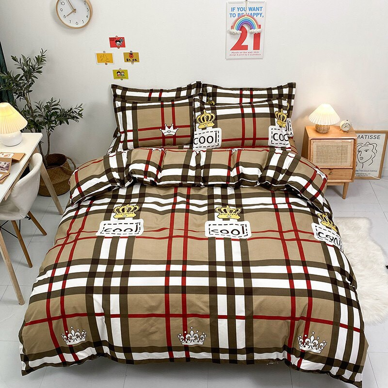 Bộ chăn ga gối , drap giường chất cotton poly họa tiết kẻ bbr chữ
