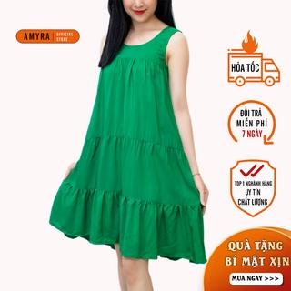 Váy 2 dây nữ AMYRA,Đầm bầu mặc nhà maxi tầng dáng suông mùa hè chất lanh V14 thumbnail