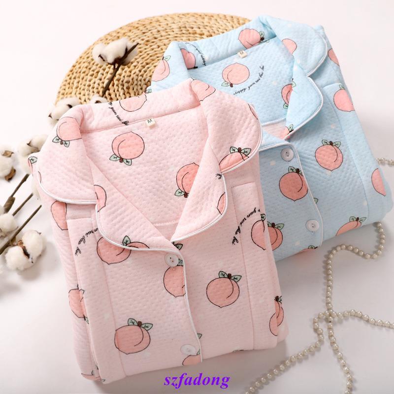 Bộ đồ ngủ vải cotton dày 3 lớp dành cho mẹ bầu thời trang mùa đông