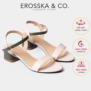 Giày sandal cao gót Erosska mũi tròn phối dây cao 3cm màu xanh phối kem EB019