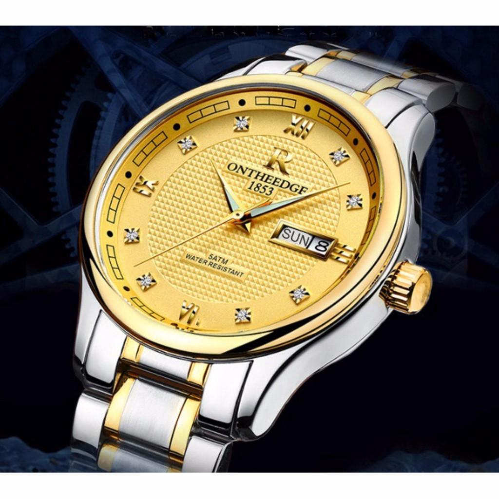 Đồng hồ nam ONTHEEDGE 1853 RZY025 - Mặt vàng, dây demi