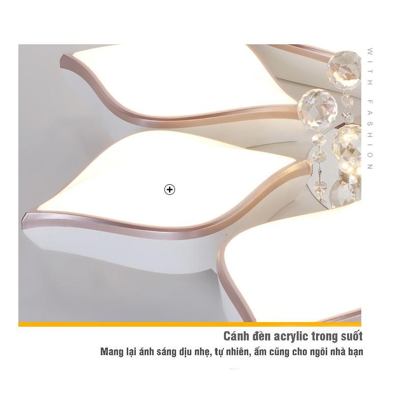 Đèn Ốp Trần Trang Trí Hiện Đại - Đèn Áp Trần A1 Hình Cánh Hoa Gồm 3 Chế Độ Sáng Có Điều Khiển Từ Xa