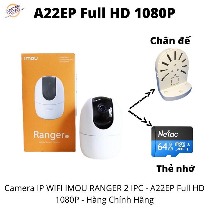 {KÈM THẺ NHỚ}Camera IP WIFI IMOU RANGER 2 IPC - A22EP Full HD 1080P - Hàng Chính Hãng