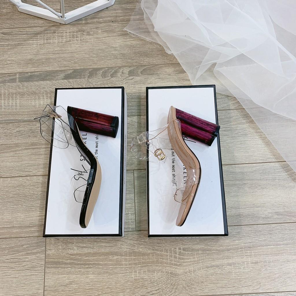 Sandal quai mica gót mận quai trong khuy cài - 7P