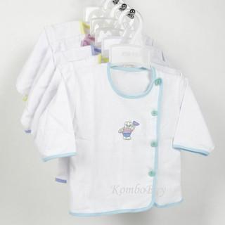 Bộ 5 Áo sơ sinh dài tay màu trắng cúc lệch viền màu An An cho bé từ sơ sinh đến 9kg thumbnail