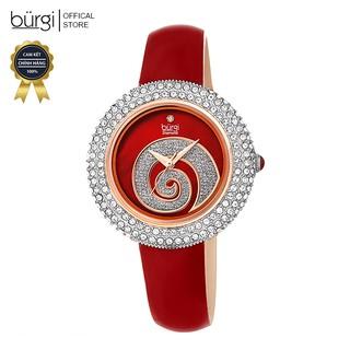 Đồng hồ thời trang nữ Burgi BUR209RD Mặt Phối Đá Swarovski Xoắn Ốc Dây Da 36mm thumbnail