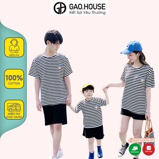 Áo gia đình hình gấu đội mũ Gạo House cotton 4 chiều cổ tròn kẻ ngang đen thumbnail