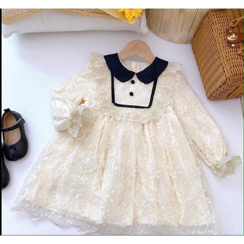 Váy đầm ren công chúa thu đông lót bông mịn cho bé gái 10-26kg