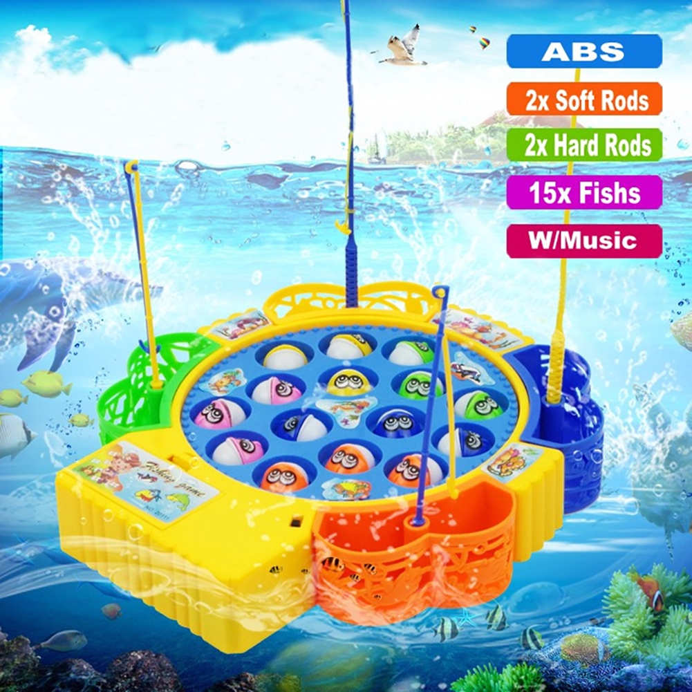 Children Electric Rotating Double Layer Music Fishing Set Toys Magnetic Game Board Learning