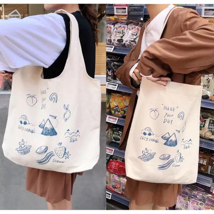 [ SIÊU GIẢM GIÁ ]Túi vải đeo chéo nữ đi chơi phong cách Hàn Quốc TX32